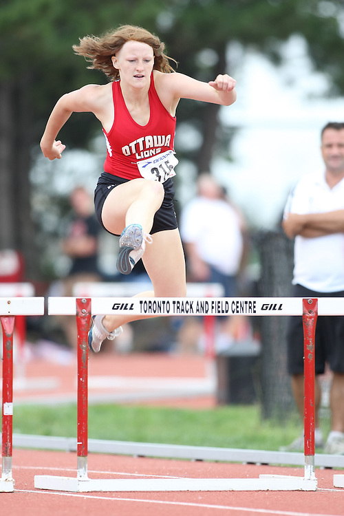(Toronto, Ontario---2 August 2008)  Charlotte Eskridge competing in the juvenile girls 300m hurdles at the 2008 OTFA Supermeet II, the Bantam, Midget, Youth Track and Field Championships. This image is copyright Sean W. Burges, and the photographer can be contacted at www.msievents.com.