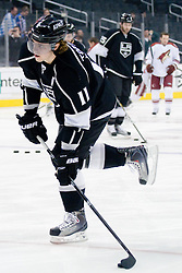 Anze Kopitar (Los Angeles Kings, #11) at warm up during ice-hockey match between Los Angeles Kings and Phoenix Coyotes in NHL league, March 3, 2011 at Staples Center, Los Angeles, USA. (Photo By Matic Klansek Velej / Sportida.com)