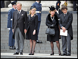 Lady Thatcher's family on the steps of St Paul's Cathedral. After Lady Thatcher's funeral, following her death last week, London, UK, Wednesday 17 April, 2013, Photo by: Andrew Parsons / i-Images