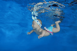 September 6, 2016 - Odessa, Ukraine - 4 months infant girl learning to swim underwater in waterbaby class in the pool (Credit Image: © Andrey Nekrasov/ZUMA Wire/ZUMAPRESS.com)