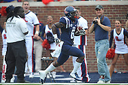 Mississippi Rebels running back Jaylen Walton (6) scores on a 40 yard pass play vs. Louisiana-Lafayette at Vaught-Hemingway Stadium in Oxford, Miss. on Saturday, September 13, 2014. Ole Miss won 56-15 to improve to 3-0.