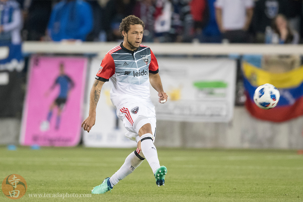 May 19, 2018; San Jose, CA, USA; D.C. United midfielder Nick DeLeon (14) during the second half against the San Jose Earthquakes at Avaya Stadium. D.C. United defeated the Earthquakes 3-1.