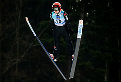 Pauline Hessler of Germany soaring through the air during Trial Round at Day 1 of World Cup Ski Jumping Ladies Ljubno 2019, on February 8, 2019 in Ljubno ob Savinji, Slovenia. Photo by Matic Ritonja / Sportida