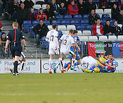 Inverness&rsquo; Ryan Christie goes down under the challenge of Dundee&rsquo;s Kevin Holt to win a penalty - Inverness Caledonian Thistle v Dundee at Caledonian Stadium, Inverness<br /> <br />  - &copy; David Young - www.davidyoungphoto.co.uk - email: davidyoungphoto@gmail.com