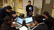 Fondren Middle School students work through the Scratch Challenge.