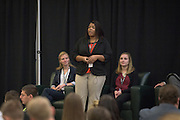 Barbara Bruce speaks during the student speaker portion of the 2016 Schey Sales Symposium held in Baker Center on November 3, 2016.