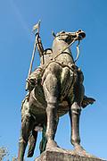 Equestrian statue of Vimara Peres Count of Portugal ca 820 - 873 by Barata Feyo 1968 in Porto. Portugal.