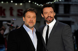 (L-R) Russell Crowe & Hugh Jackman arrives for the UK premiere of the film 'Noah', Odeon, London, United Kingdom. Monday, 31st March 2014. Picture by Chris Joseph / i-Images