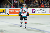 KELOWNA, CANADA - JANUARY 4:  Ethan Ernst #19 of the Kelowna Rockets stands at the blue line at the start of the shoot out against the Prince George Cougars on January 4, 2019 at Prospera Place in Kelowna, British Columbia, Canada.  (Photo by Marissa Baecker/Shoot the Breeze)