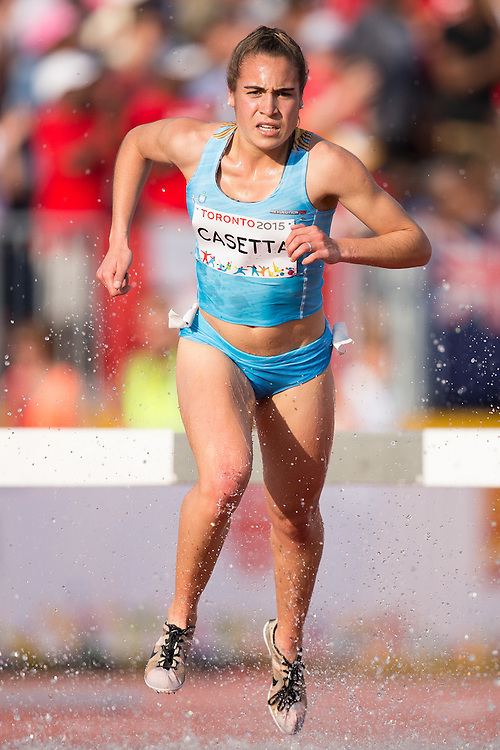 Belen Cassette of Argentina competes in the women's steeplechase at the 2015 Pan American Games at CIBC Athletics Stadium in Toronto, Canada, July 24,  2015.  AFP PHOTO/GEOFF ROBINS