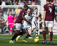 Hearts&rsquo; Arnaud Djoum and Dundee&rsquo;s James Vincent - Hearts v Dundee in the Ladbrokes Scottish Premiership at Tynecastle, Edinburgh, Photo: David Young<br /> <br />  - &copy; David Young - www.davidyoungphoto.co.uk - email: davidyoungphoto@gmail.com