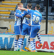 Nathaniel Mendez-Laing Goal, Joe Bunney, Michael Rose, Callum Camps during the The FA Cup match between Rochdale and Swindon Town at Spotland, Rochdale, England on 7 November 2015. Photo by Daniel Youngs.