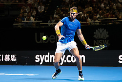 January 7, 2019 - Sydney, NSW, U.S. - SYDNEY, AUSTRALIA - JANUARY 07: Rafael Nadal (ESP) hits a forehand at The Sydney FAST4 Tennis Showdown on January 07, 2018, at Qudos Bank Arena in Homebush, Australia. (Photo by Speed Media/Icon Sportswire) (Credit Image: © Steven Markham/Icon SMI via ZUMA Press)