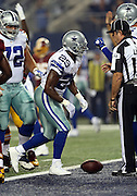 Dallas Cowboys running back DeMarco Murray (29) jumps up after rushing for a first quarter touchdown and a 7-0 Cowboys lead during the NFL week 6 football game against the Washington Redskins on Sunday, Oct. 13, 2013 in Arlington, Texas. The Cowboys won the game 31-16. ©Paul Anthony Spinelli