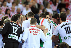 Team of Hungary during 21st Men's World Handball Championship 2009 Main round Group I match between National teams of Croatia and Hungary, on January 24, 2009, in Arena Zagreb, Zagreb, Croatia.  (Photo by Vid Ponikvar / Sportida)