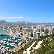 Panoramic view over Calp (Spain). Town bay beach