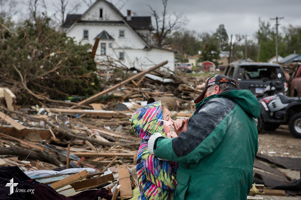 Residents work through the rubble Monday, May 11, 2015, in Delmont, S.D. A tornado swept through the area the previous day and destroyed the church and nearby buildings. LCMS Communications/Erik M. Lunsford