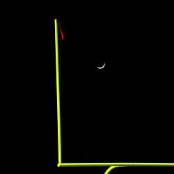 The moon rises between the goal post during a CIF Division 6 prep Championship football game between Paraclete and Los Altos at Los Altos High School in Hacienda Heights, Calif., on Friday, Dec. 02, 2016. Paraclete won 21-14.