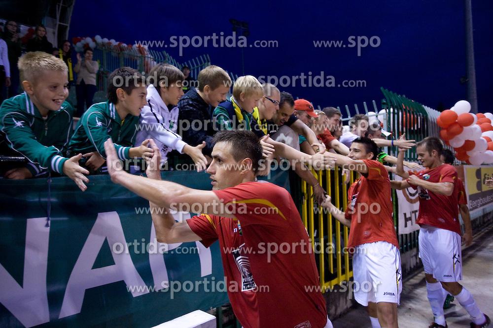 Rusmin Dedic of Rudar celebrates at 1st Round of Europe League football match between NK Rudar Velenje (Slovenia) and Trans Narva (Estonia), on July 9 2009, in Velenje, Slovenia. Rudar won 3:1 and qualified to 2nd Round. (Photo by Vid Ponikvar / Sportida)