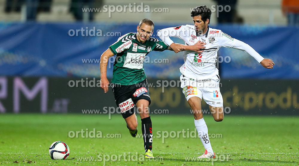 23.09.2015, Keine Sorgen Arena, Ried, AUT, OeFB Samsung Cup, SV Josko Ried vs RZ Pellets WAC, 2. Runde, im Bild Florian Hart (SV Josko Ried) und Jacobo Maria Ynclan Pajares (WAC) // during OeFB Cup, 2nd round Match between SV Josko Ried and RZ Pellets WAC at the Keine Sorgen Arena, Ried, Austria on 2015/09/23. EXPA Pictures © 2015, PhotoCredit: EXPA/ Roland Hackl