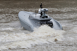 © Licensed to London News Pictures. 05/09/2016. LONDON, UK.  Bladerunner on the River Thames. The Royal Navy test out Bladerunner, their new prototype high speed drone speedboat on the River Thames in London this afternoon ahead of a major exercise. It is part of the Royal Navy's Unmanned Arrior program, which seeks to find an edge in the field of naval combat.  Photo credit: Vickie Flores/LNP