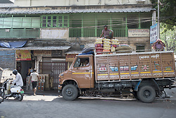 A supply truck with food grains wait at Burrabazzar whole sale market in Kolkata midst 21 days lockdow in India due to Corona virus pandemic.