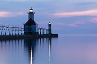 A long exposure image of a calm evening on Lake Michigan.  Take from Tiscornia park in St. Joseph, MI.