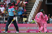 Joe Root out caught at first slip for 49 during the One Day International match between South Africa and England at Bidvest Wanderers Stadium, Johannesburg, South Africa on 9 February 2020.