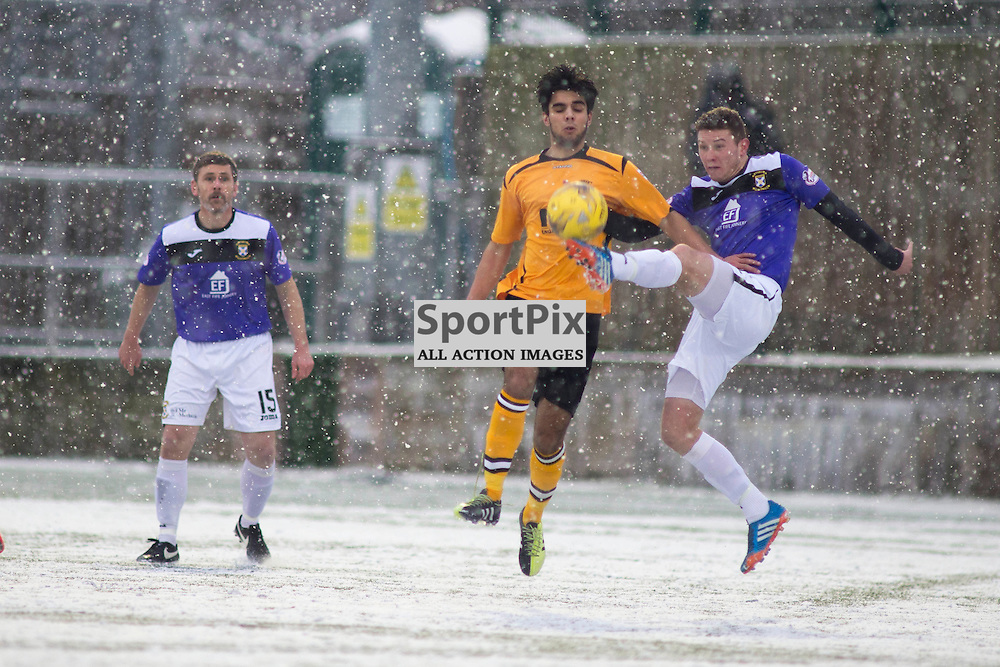 Annan Athletic v East Fife SPFL2 16 January 2016<br />Player Manger Gary Naysmith watches on. Rabin Omar is outwitted by<br />(c) Russell G Sneddon / SportPix.org.uk
