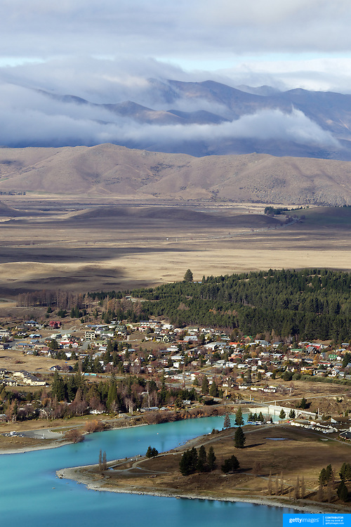 The view from the top of Mount John overlooking Lake Tekapo and Mackenzie Country, South Island, New Zealand. Mount John is also the home of the Mount John University Observatory, Lake Tekapo has one of the most spectacular night skies in the world. 7th June 2011