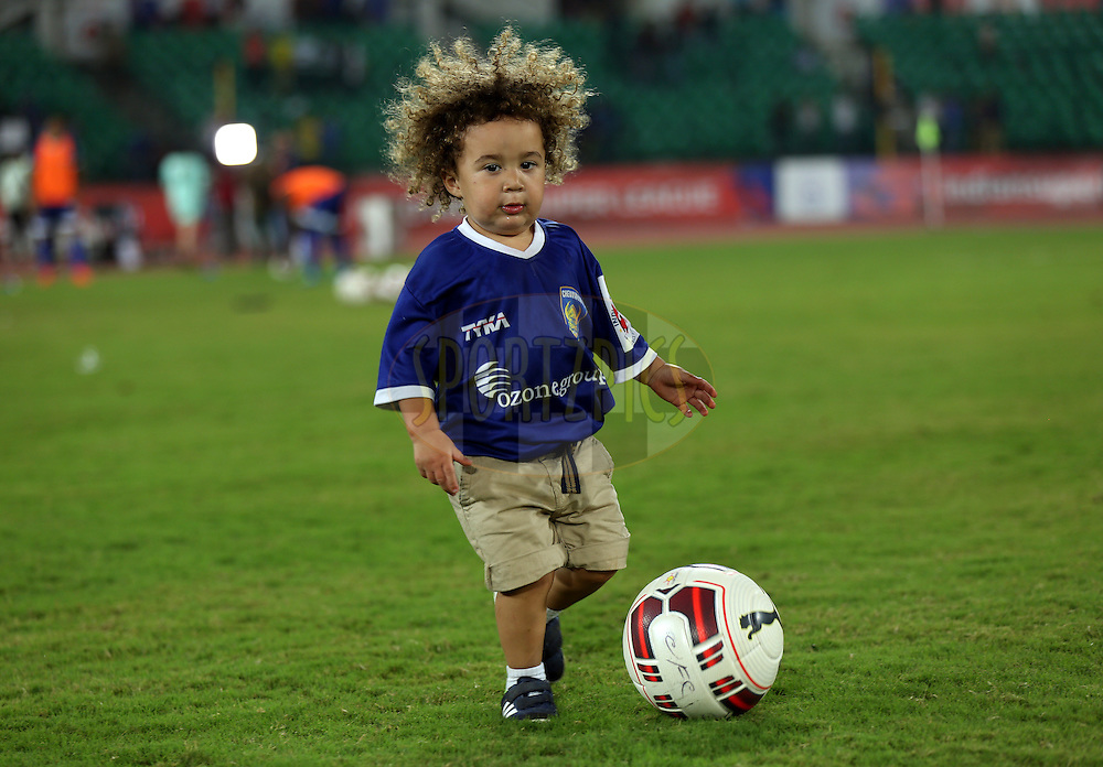 Son of Mikael Silvestre of Chennaiyin FC  after the match 50 of the Hero Indian Super League between Chennaiyin FC and FC Goa held at the Jawaharlal Nehru Stadium, Chennai, India on the 5th December 2014.<br /> <br /> Photo by:  Sandeep Shetty/ ISL/ SPORTZPICS