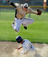 25 MAY 2010 -- FLORISSANT, Mo. -- Hazelwood Central High School infielder David Goering (18, right) leaps to avoid the slide by St. Louis University High School's Mike Eagan (9) as the ball drops free at Hazelwood Central Tuesday, May 25, 2010. SLUH won, 12-0. Photo © copyright 2010 by Sid Hastings.