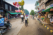 An inflatable toy vendor walks down the street in Pantanaw, a town in the Irrawaddy Delta (or Ayeyarwady Delta) in Myanmar. The region is Myanmar's largest rice producer, so its infrastructure of road transportation has been greatly developed during the 1990s and 2000s. Two thirds of the total arable land is under rice cultivation with a yield of about 2,000-2,500 kg per hectare. FIshing and aquaculture are also important economically. Because of the number of rivers and canals that crisscross the Delta, steamship service is widely available.