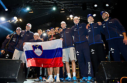 Goran Dragic of Slovenia, Uros Slokar of Slovenia, Bostjan Nachbar of Slovenia, Gasper Vidmar of Slovenia, Jure Balazic of Slovenia, Jaka Lakovic of Slovenia, Mirza Begic of Slovenia, Domen Lorbek of Slovenia, Zoran Dragic of Slovenia, Edo Muric of Slovenia, Jaka Blazic of Slovenia and Nebojsa Joksimovic of Slovenia at reception of Slovenia National basketball team after they placed 5th at Eurobasket 2013 on September 22, 2013 in Fan zone Kongresni trg, Ljubljana, Slovenia. (Photo by Vid Ponikvar / Sportida)