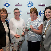 23.05.2018.       <br /> Today, the Institute of Community Health Nursing (ICHN) hosted its2018 community nurseawards in association withHome Instead Senior Care,at its annual nursing conference, in the Strand Hotel Limerick, rewarding public health nurses for their dedication to community care across the country. <br /> <br /> Pictured are, Bernie Byrne, Home Instead Senior Care Rathcoole, Dublin, with ICHN President Anne Lynott (right) presenting Anne Marie Kelly, CNS Continence Promotion Unit, Dr Stevens Hospital, Dublin, and Teresa O Dowd, Registered General Nurse, Lucan Health Centre Dublin, joint winners of the ICHN Nurse Award. Anne Marie works as a CNS in the CPU in Dr Stevens, while Teresa is a Registered General Nurse at Lucan Health Centre, Dublin. Anne Marie's  expertise as a CNS has been a wonderful support to Teresa and this is demonstrated by her attention to detail particularly in the care planning process. She and Teresa have created a continence model based on national and international evidence. Her advocacy for her clients is unquestioned and her resolve in developing individualised care plans is excellent. Testimonies received from patients clearly demonstrates the work both Anne Marie and Teresa are doing.  Picture: Alan Place