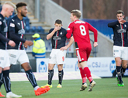 Falkirk's John Baird misses the penalty. Falkirk 1 v 1 Ayr United, Scottish Championship game played 14/1/2017at The Falkirk Stadium .