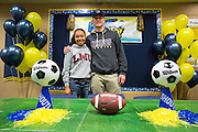 Sarina Bolden and Jason Scrempos pose for a photo during the NCAA National Signing Day event at Milpitas High School in Milpitas, California, on February 4, 2015. (Stan Olszewski/SOSKIphoto)