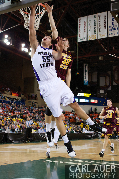 November 26th, 2010:  Anchorage, Alaska - Weber State Wildcat center Trevor Morris (55) takes a shot in the 58-59 loss to the Arizona State Sun Devils at the Great Alaska Shootout.