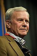 Tom Brokaw, moderator of NBC?s ?Meet the Press,? distinguished journalist and alumnus of The University of South Dakota, speaks to a packed room on the USD campus, Tuesday, Oct. 28.