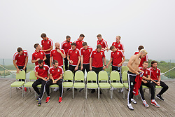 DINARD, FRANCE - Tuesday, June 7, 2016: Wales players prepare to line up for a team group photograph at the Novotel Thalasso Dinard ahead of the start of the UEFA Euro 2016 tournament. (Pic by David Rawcliffe/Propaganda)