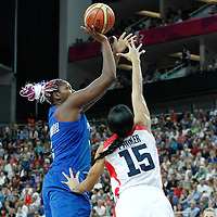 11 August 2012: France Isabelle Yacoubou takes a jumpshot over Candace Parker during 86-50 Team USA victory over Team France, during the Women's Gold Medal Game, at the North Greenwich Arena, in London, Great Britain.