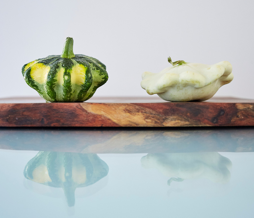 flying saucer squash, white scallop squash