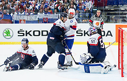 Mats Rosseli Olsen of Norway vs Tomas Surovy of Slovakia, Michal Sersen of Slovakia and Jan Laco of Slovakia when Norway scoring second goal during Ice Hockey match between Slovakia and Norway at Day 6 in Group B of 2015 IIHF World Championship, on May 6, 2015 in CEZ Arena, Ostrava, Czech Republic. Photo by Vid Ponikvar / Sportida