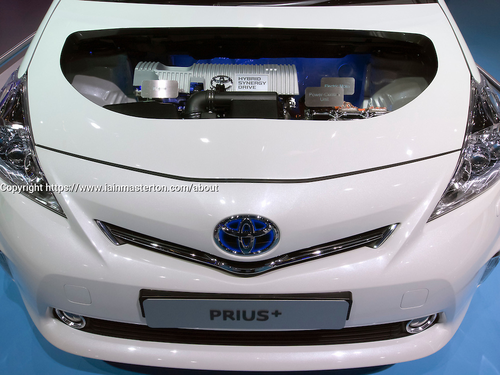 Detail of Toyota Prius Hybrid engine display at Frankfurt Motor Show or IAA 2011 Germany