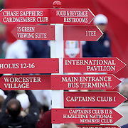 Ryder Cup 2016.  A direction sign post during practice day at the Hazeltine National Golf Club on September 28, 2016 in Chaska, Minnesota.  (Photo by Tim Clayton/Corbis via Getty Images)