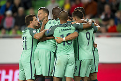 September 3, 2017 - Budapest, Hungary - The Portuguese players celebrate scoring during the FIFA World Cup 2018 Qualifying Round match between Hungary and Portugal at Groupama Arena in Budapest, Hungary on September 3, 2017  (Credit Image: © Andrew Surma/NurPhoto via ZUMA Press)