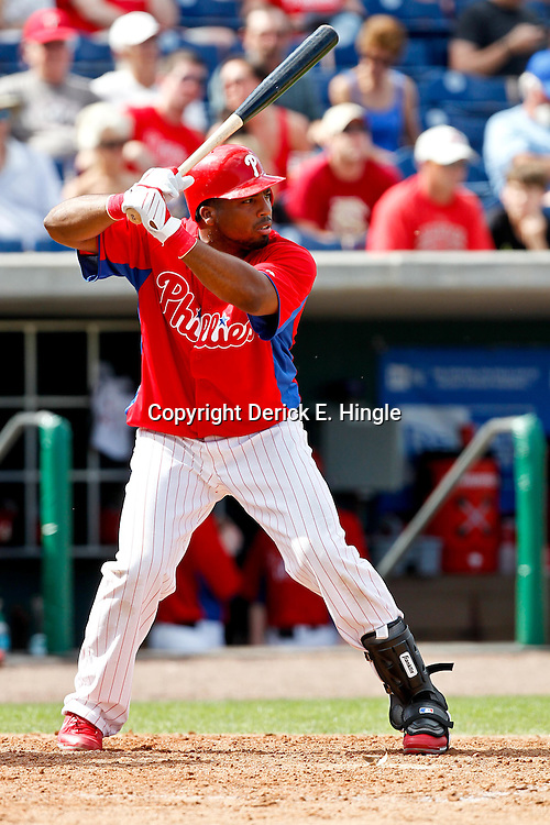February 29, 2012; Clearwater, FL, USA; Philadelphia Phillies second baseman Hector Luna (29) during a spring training exhibition game against Florida State University at Bright House Networks Field. The Phillies defeated Florida State 6-1. Mandatory Credit: Derick E. Hingle-US PRESSWIRE