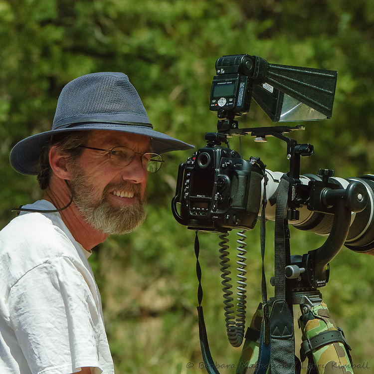 Larry in front of his lens; Cave Creek Canyon, Arizona