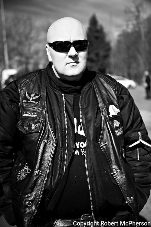 On image Ver&egrave;b J&ograve;zsef. Member of the right-wing extremist group G&ograve;j Motorosok in Hungary.<br />