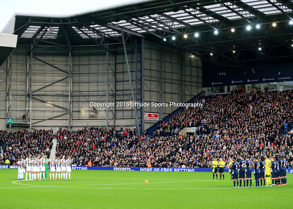 28th December 2015 - Barclays Premier League - West Bromwich Albion v Newcastle United - Players stand around the centre circle for a minutes applause to Don Howe - Photo: Paul Roberts / Offside.